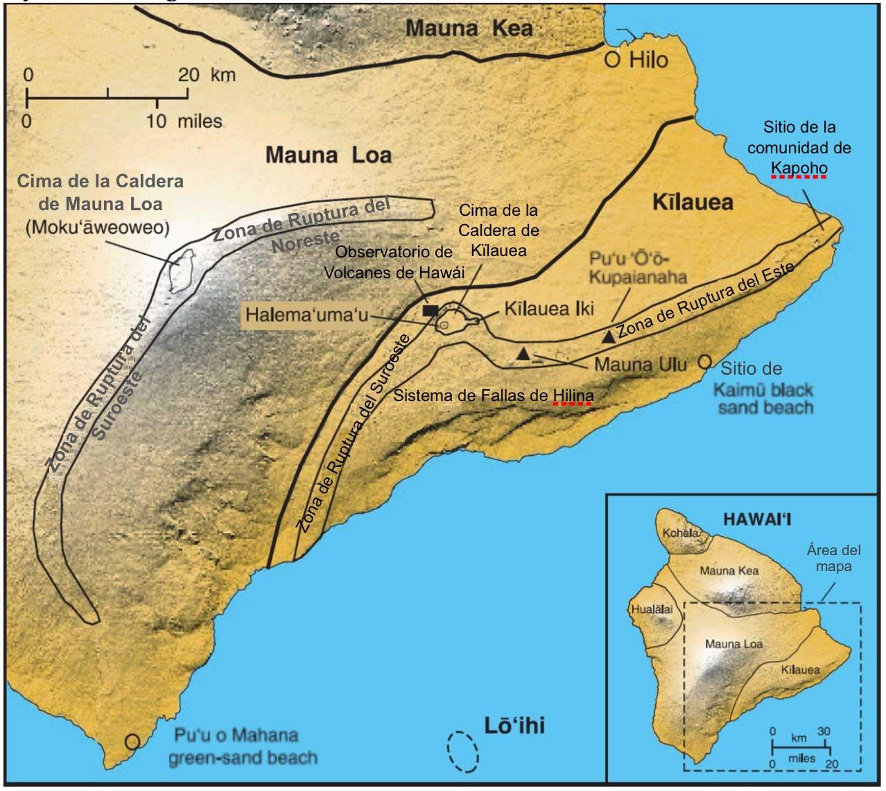 Mapa que presenta los principales centros volcánicos, zonas de ruptura y sistemas de fallas en Hawái (USGS, 2010).