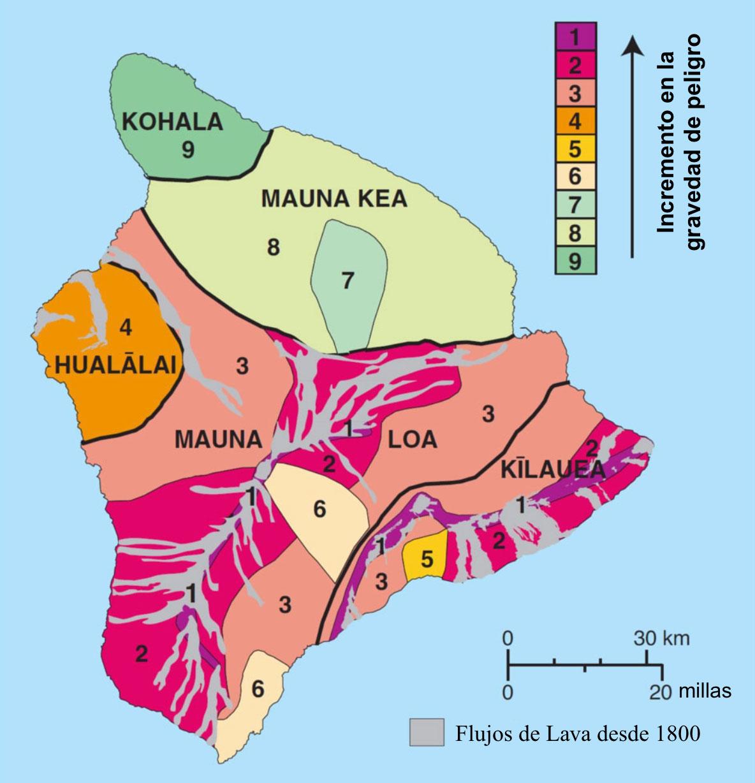 Mapa de la Isla de Hawái que muestra los peligros volcánicos a partir de los flujos de lava (USGS, 2010).