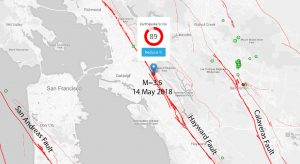 This Temblor map shows the location of last night's M=3.5 earthquake along the Hayward Fault. As can be seen in this figure, the Hayward Fault is one of three major faults in the Bay Area. According to the USGS, the Hayward has the highest probability of rupturing in a large earthquake by 2043 (33%)