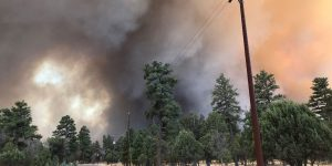 The sky has turned black with smoke around the Tinder Fire in north central Arizona. So far, approximately 30 structures have been destroyed, and