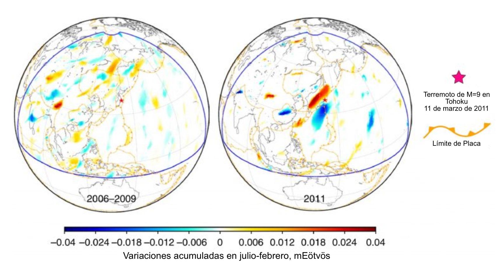 El planeta izquierdo en esta figura muestra las anomalías acumuladas en julio-febrero apiladas a lo largo de 2006-2009. El planeta derecho muestra un área aumentada del primer panel en la primera figura, la cual es el tiempo justo antes del terremoto de M=9.0 en Tohoku (Figura de Panet et al., 2018).