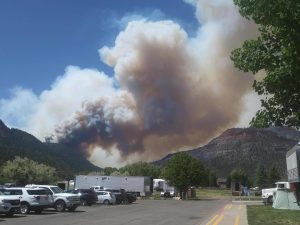 A smoke plume rises from the 416 Fire, which is currently raging just north of Durango, in southwestern Colorado. Fortunately, no structures have been destroyed yet, though over 2,000 homes have been evacuated. As of this morning, the fire is only 15% contained.