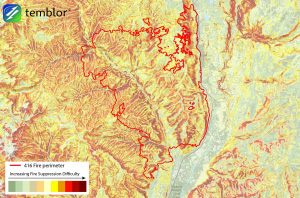 This Temblor map shows the fire suppression difficulty around the 416 Fire. This map tends to highlight steep slopes where fires spread rapidly. Using this rating, average weather conditions are considered.