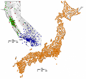 This map shows a comparison of the network of earthquake sensors in California and Japan. (Figure from: Shakealert.org)