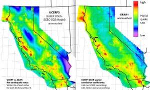 Questa figura mostra un confronto tra il modello UCERF3 per la California (a sinistra) e il modello GEAR. Se confrontati, i modelli di tasso di sismicità hanno una differenza di circa il 4% per i terremoti di magnitudo M≥6 e M≥7. Questo risultato è un primo passo verso la validazione di GEAR, dato che il modello UCERF3 è ampiamente accettato.