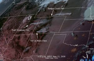 This satellite map from Wildfire Today shows just four of the fires currently burning across Colorado, Utah, and Wyoming.