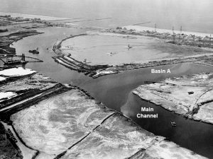 This aerial image shows early dredging of Marina del Rey.