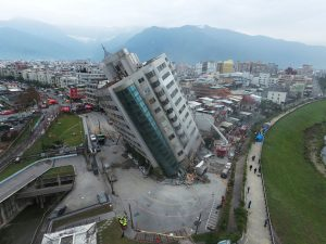 This photo shows extensive damage from the Feb.6 2018 M=6.4 Hualien earthquake. This building tilted due to a combination of liquefaction and a collapsed story.