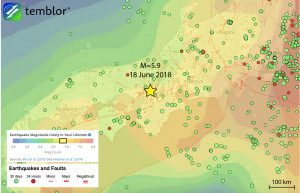 This Temblor map shows the Global Earthquake Activity Rate (GEAR) model for much of Japan. This map shows that in the location of today's M=5.9 earthquake, a M=6.75+ is likely to occur in your lifetime.