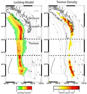 This figure from Bodmer et al., 2018 shows the degree of locking along the Cascadia Subduction Zone based on geodetic data (Schmalzle et al., 2014) as well as tremor density from the Pacific Northwest Seismic Network.