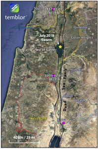 This Google Earth map shows the location of the recent earthquake swarm as well as the locations of the 1837 and 1033 earthquakes from the Global Historical Earthquake Archive, as well as the 1927 earthquake from the ISC-GEM catalog. The Dead Sea Fault has been drawn by Temblor.