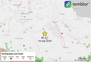 This Temblor map shows the location of today's M=5.7 earthquake in central Mexico. Fortunately, because of the remoteness of this event, there are no reported injuries, and no reported damage.