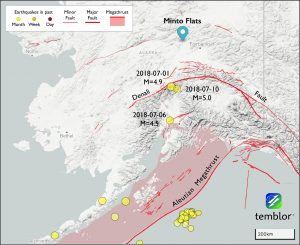 This Temblor map shows moderate-sized earthquakes in Alaska over the last month. While the three earthquakes labeled appear to have struck on local faults, they actually occurred along the Aleutian Megathrust.