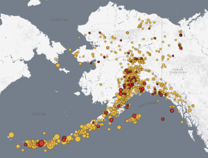 This map, from the University of Alaska Fairbanks, shows earthquakes across Alaska over the last two weeks.