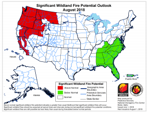 This map from the National Interagency Fire Center shows where there in a above normal potential for significant wildland fires in the month of August.