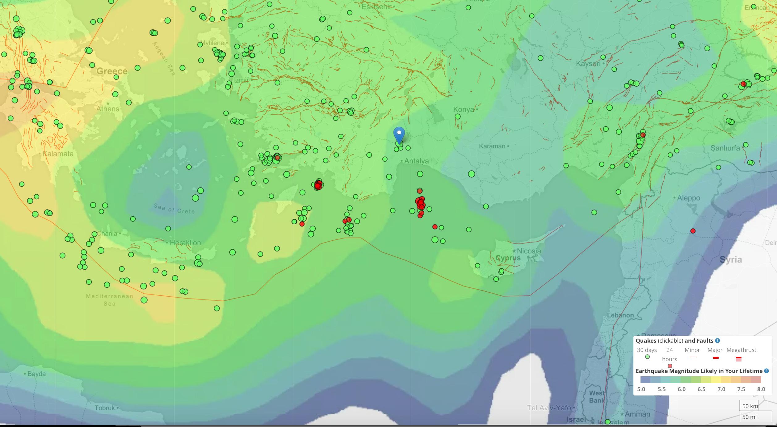 Temblor app'e bakıldığında, bu bölgede 6 büyüklüğündeki bir depremin olma olasılığının yılda %1 olduğu görülmektedir. Bu olasılığa göre, ortalama 85 yıl yaşayan birisinin bu büyüklükte bir depremi yaşaması beklenmektedir. Dolayısıyla hazırlıklarımızı en az bu depreme dayanabilecek şekilde yapmalıyız.