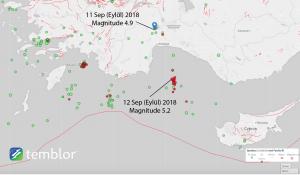 Episantırı Antalya'nın Bucak ilçesine yakın olan 11 Eylül 2018 depreminin odağı 105 km derinliktedir ve bölgede yaşayan halk tarafından hissedilmiştir. 12 Eylül 2018 de Antalya Körfezi'nde olan deprem ise 60 km derinliktedir ve kıyılardaki yerleşimlerde kuvvetle algılanmıştır.