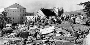 Feb. 9, 1971: workers swarm over ruins of Vet. Hospital in Sylmar, removing tiles & rubble in search for trapped victims.