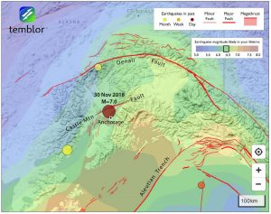 Although the quake appears to have struck along the Castle Mountain Fault, it probably lies beneath it and is unrelated to it. It instead lies near the upper surface of the subducting Pacific Plate. At this location, a M=6.5 quake is likely in your lifetime, a M=7.0 quake has about 1 chance in 200 to strike in any given year.