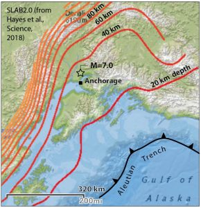 The quake struck near a downward bend in the Pacific Plate, possibly producing local tension in an otherwise compressive setting. Source: SLAB2.0 (USGS).
