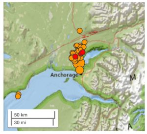USGS aftershocks during the first few hours. Source: USGS.