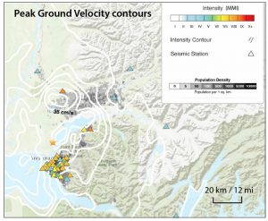 Strong shaking is evident from the intensities recorded by seismic stations (triangles), which occurred in Alaska's most densely populated region (grayscale), greater Anchorage. Source: USGS.