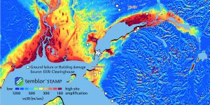 Temblor STAMP (Global Site Amplification model) map shows the potential that an area would experience higher shaking amplification during the M = 7 Anchorage earthquake. Damage data is from EERI Clearinghouse.