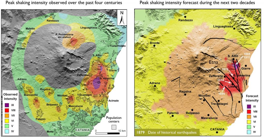 Italy's long history affords a unique record of earthquake occurrence, which is invaluable for earthquake forecasts. The left panel shows the highest shaking observed since A.D. 1600, from  Azzaro et al. (2013a). The right panel shows the most probable peak shaking for the next 20 years, also from Azzaro et al. (2013a). This forecast is consistent with the Christmas quake. Intensity IX is 'Destructive,' VIII is 'Heavy damage,' and VII is 'Damage.'