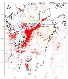 Figure 3. Epicenters of all earthquakes shallower than 20 km during the period of 2015-2018 (JMA catalog). Although there are several dense clusters that have nothing to do with the Kumamoto earthquake, we nevertheless see that the aftershock zone is extends up to five rupture lengths from the fault (thick black line). The three boxes are where we examined the seismicity over time in Figure 4.
