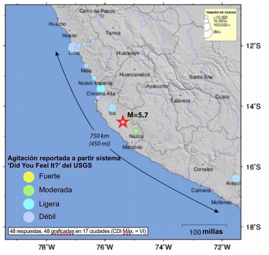 Las respuestas del sistema 'Did You Feel It?' del Servicio Geológico de los Estados Unidos (USGS, por sus siglas en inglés) revela la extraordinaria extensión de la agitación que los ciudadanos sintieron por el terremoto de hoy.
