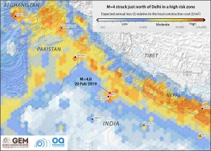 This portion of a new map from the GEM Foundation shows the expected cost of earthquake damage relative to the cost of construction, averaged over time, everywhere on Earth. The Himalayan Foothill Thrust region lights up in a band of yellow-orange high risk. The risk is the product of a very high seismic hazard and an extremely high population density. Pakistan and Nepal are also seen to be at very high risk, followed by greater Kabul in Afghanistan.