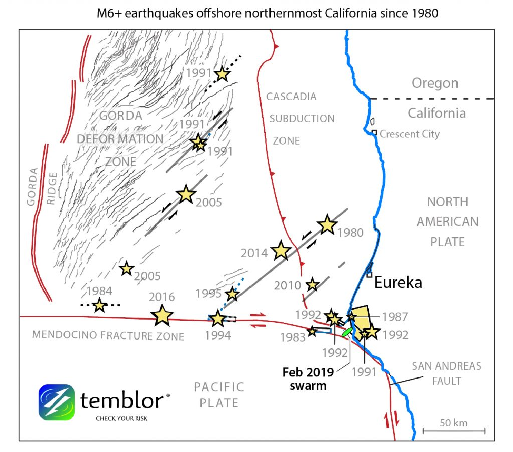 Just off Cape Mendocino lies the most seismically active corner of California (from Rollins and Stein, 2010).