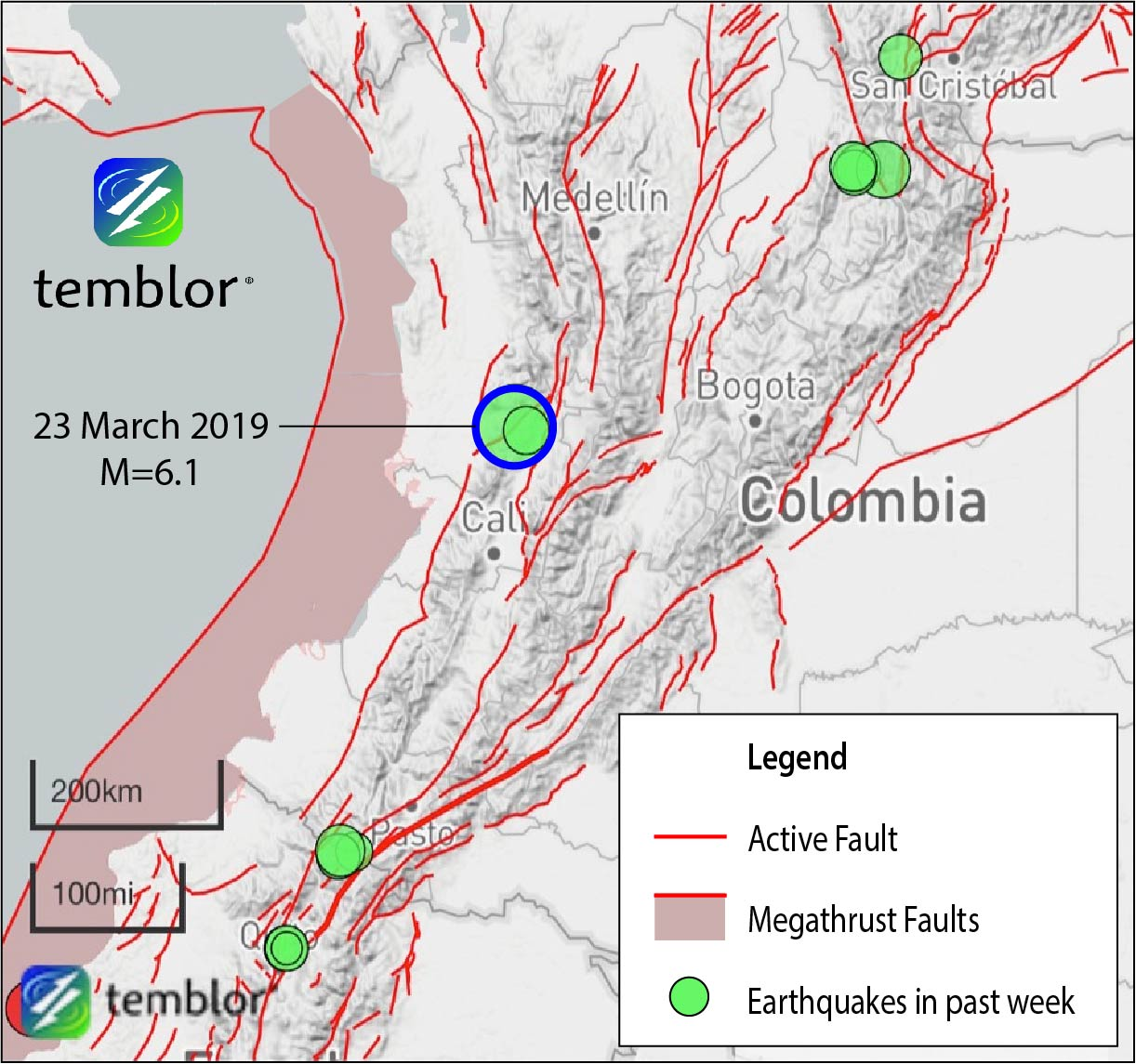 Did the Moon trigger Saturday's M=6 1 earthquake in Colombia
