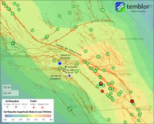 Temblor map of the largest earthquake that is likely in your lifetime, by location in Southern California (color shading). The largest shock in central LA is M=6.5-6.75. This feature uses the GEAR model.