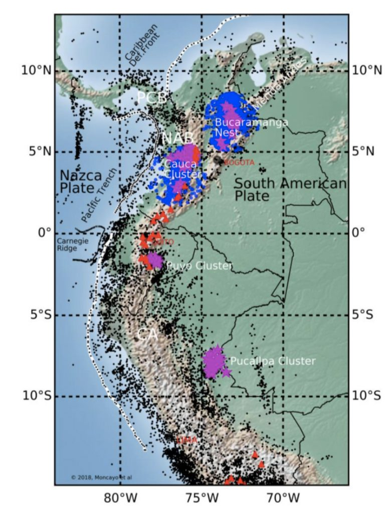 Each dot represents an earthquake. The colored dots are corresponding to earthquakes in seismic clusters. The upper two are the Cauca cluster and Bucaramanga nest, where over half of the earthquakes in Colombia occur.