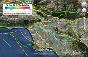 Faults in and around LA and their 30-year probabilities of rupturing in a M≥6.7 earthquake from the Uniform California Earthquake Rupture Forecast, Version 3 (UCERF3). This handy Google Earth file and non-technical descriptions of the forecast are available at http://www.wgcep.org/ucerf3.