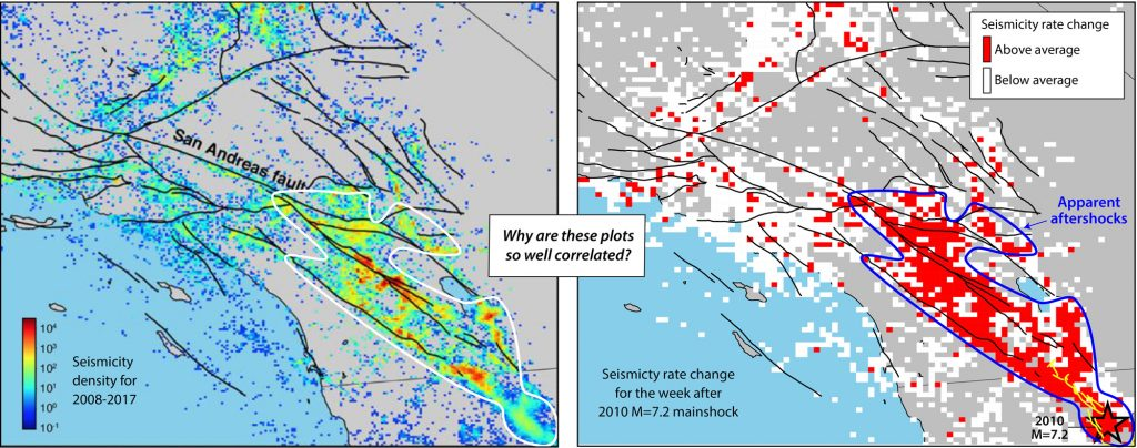 Annotated versions of the figures in Ross et al. (2019). The seismicity density (the number of quakes in each 2 km x km cell) is on the left, and the elevated quake rate after the 2010 mainshock is on the right.