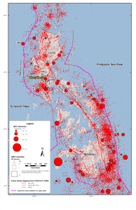 Earthquakes and active faults line all sides of the Philippines. Figure from Wong et al. [2014].