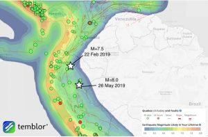 El evento de M=8.0 de este 26 de mayo de 2019 fue un poco más grande y aproximadamente a 440 km al Sureste de un terremoto de M=7.5 que ocurrió en Ecuador el 22 de febrero 2019.