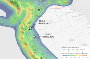 The 26 May 2019 M=8.0 event was slightly larger and about 440 kilometers to the southeast of a M=7.5 earthquake that occurred in Ecuador on 22 Feb 2019.