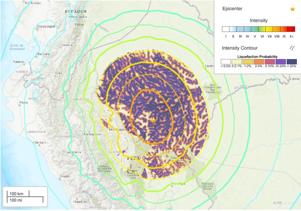 This map, produced by the United States Geological Survey, shows estimated Mercalli shaking intensity (colored contour lines from maximum of orange level VIII) and liquefaction probability (colored contours with maximum dark purple representing a greater than 20% chance of liquefaction).