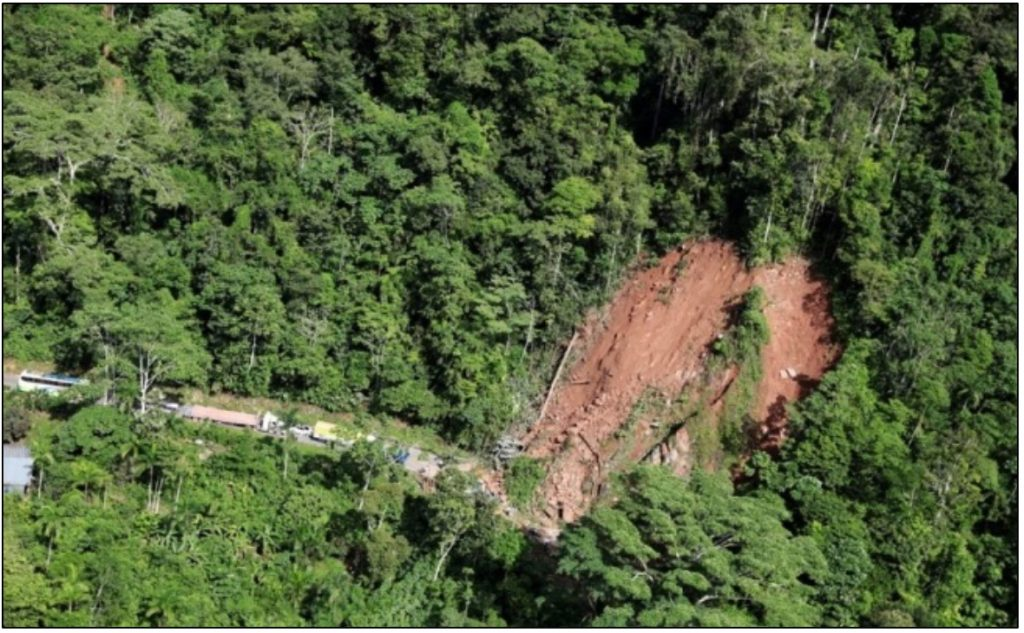 Landslide as a result of Sunday's earthquake, as reported to Reuters (@Univ_inenglish).