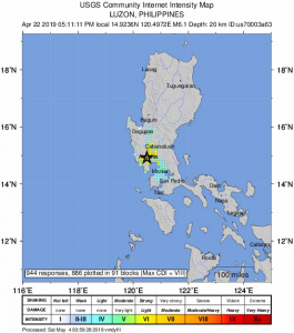 """Community-reported shaking from the April 22 earthquake. The April 23 event occurred where the """"12* N"""" label is on the lower right, just off the map."""