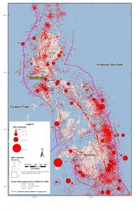Earthquakes and faults line all sides of the Philippines. Figure from Wong et al. [2014].