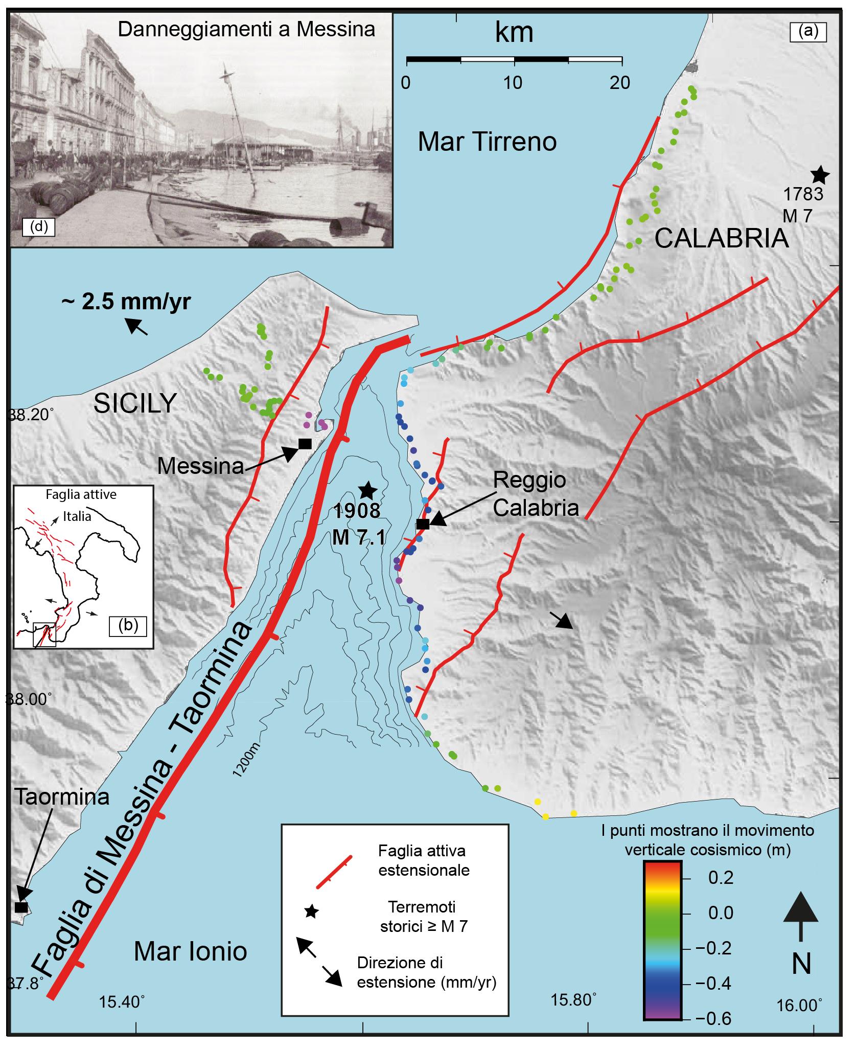 Cartina Italia Terremoti.Identificata La Faglia Responsabile Del Terremoto Di Messina Del 1908 Temblor Net