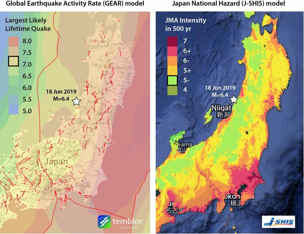 When compared to Japan's national earthquake model, the GEAR model indicates a higher rate of earthquake activity on the eastern margin of the Sea of Japan/East Sea, with a significant lifetime likelihood of experiencing a magnitude-7 or -7.5 quake. Credit: Temblor.net