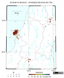 In the hours that followed the June 18 Tsuruoka quake, aftershocks ranging from magnitude-2.7 to magnitude-4.1 were recorded around Yamagata and Niigata. Credit: HI-Net/NIED