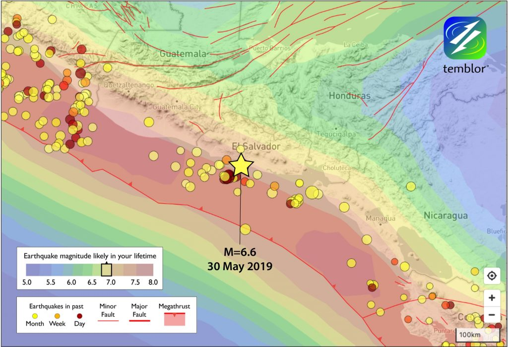 Temblor Map showing GEAR model and the location of Thursday's earthquake