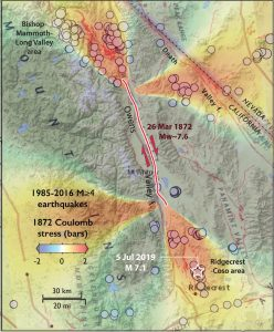 The M 7.1 shock struck in a lobe of calculated off-fault stress increase caused by the great 1872 M~7.6 Owens Valley shock. This area has been highly active since the seismic network became capable of recording small shocks in about 1985.