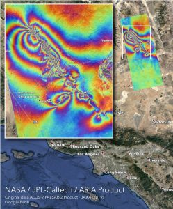 The interferogram is derived from the ALOS-2 satellite, operated by the Japan Aerospace Exploration Agency (JAXA), with images taken before (16 April 2018) and after (8 July 2019) the earthquakes. Each color cycle represents 11.45 cm (4.5 inches) of ground displacement in the radar line-of-sight (28° from vertical and roughly east).